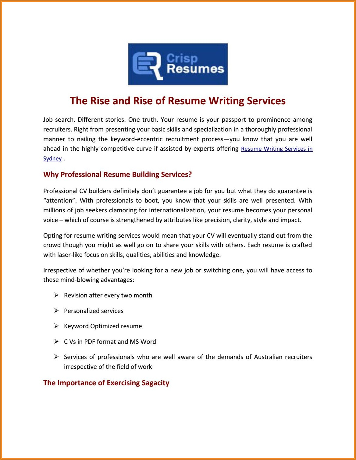 Resume Writing Services Sydney Reviews