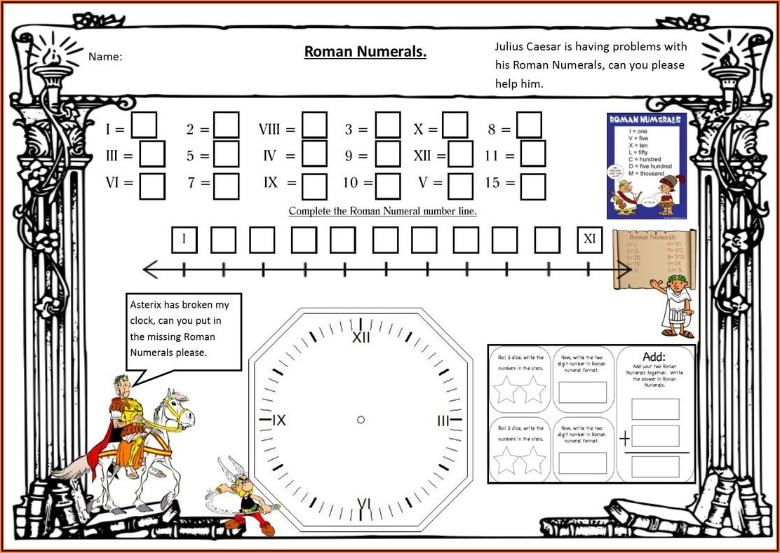Roman Numerals Worksheet For 2nd Grade