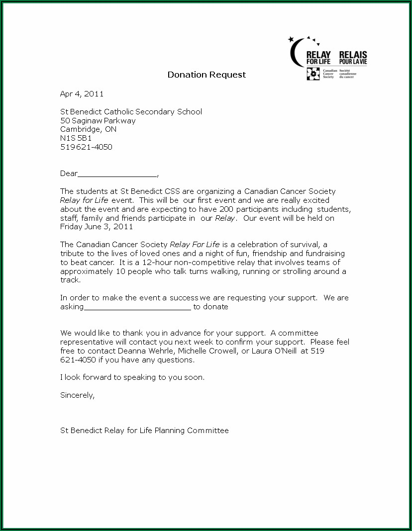 Sample Letter Asking For Donations For School Template