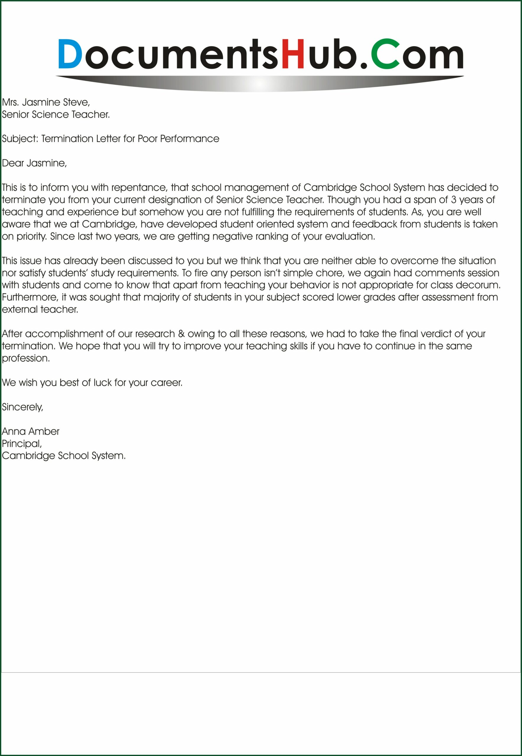 Sample Letter Of Termination Of Employment Contract Due To Poor Performance