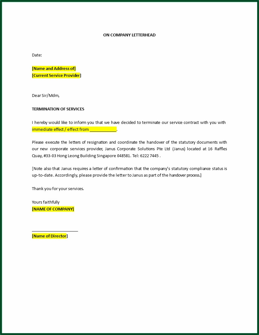 Sample Letter Of Termination Of Employment Contract