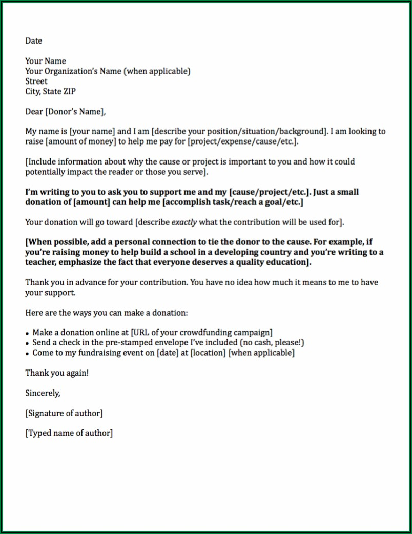 Sample Request For Donation Letters Templates