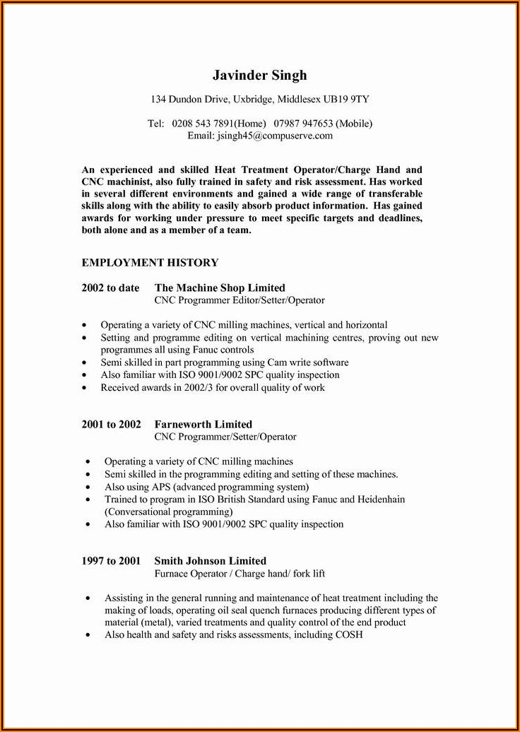 Sample Resume For Equipment Operator