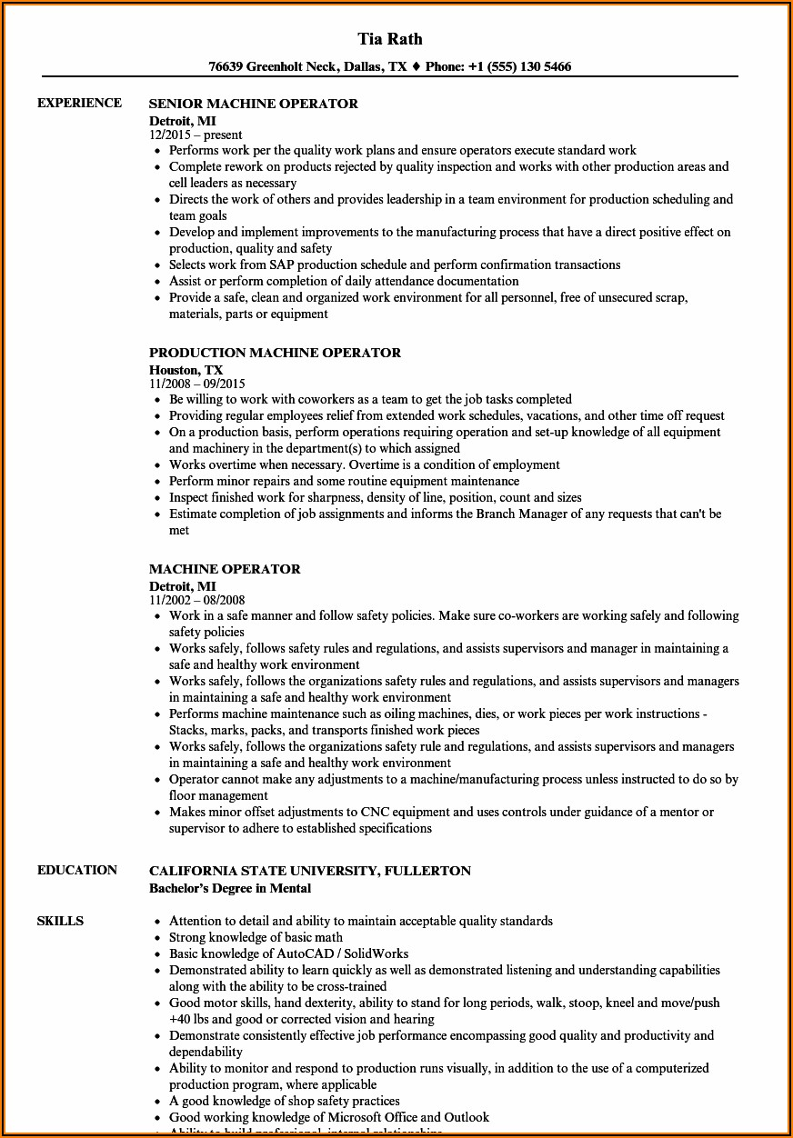 Sample Resume For Sewing Machine Operator