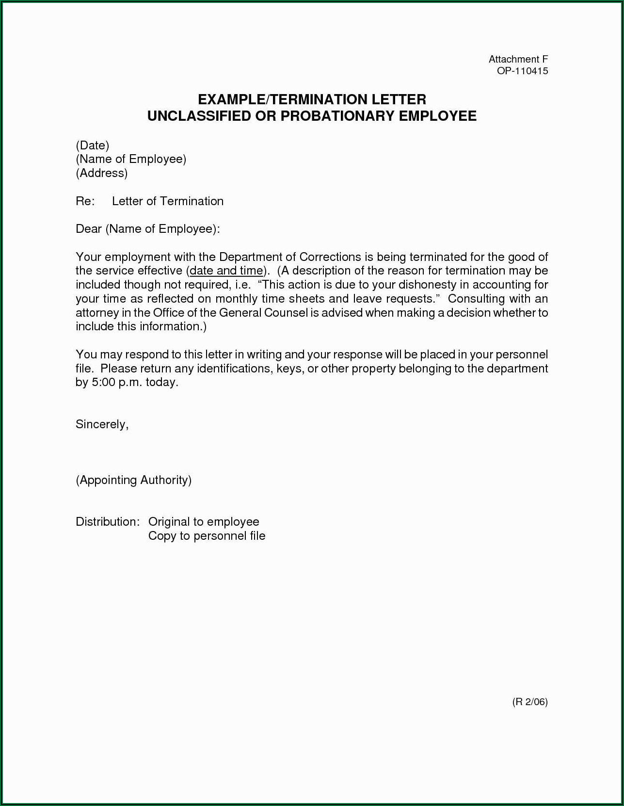 Sample Termination Of Employee Letter