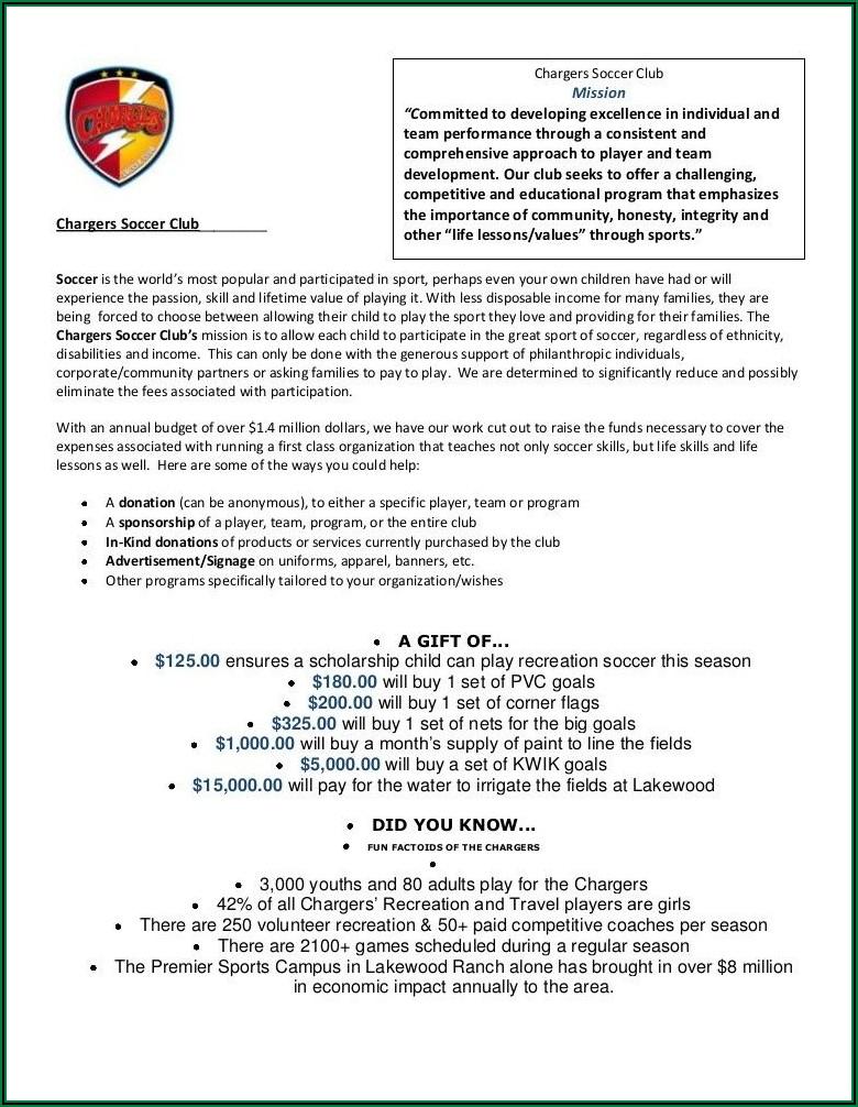 Sample Youth Sports Program Proposal