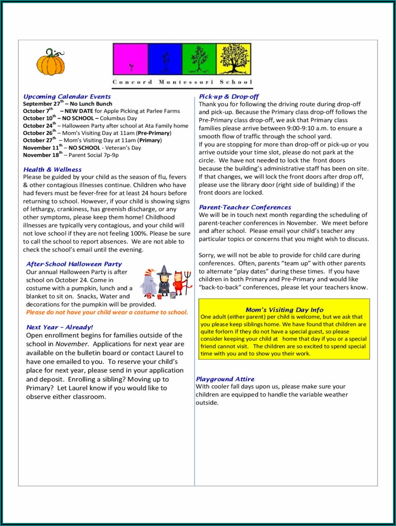 School Newsletter Template Free Download
