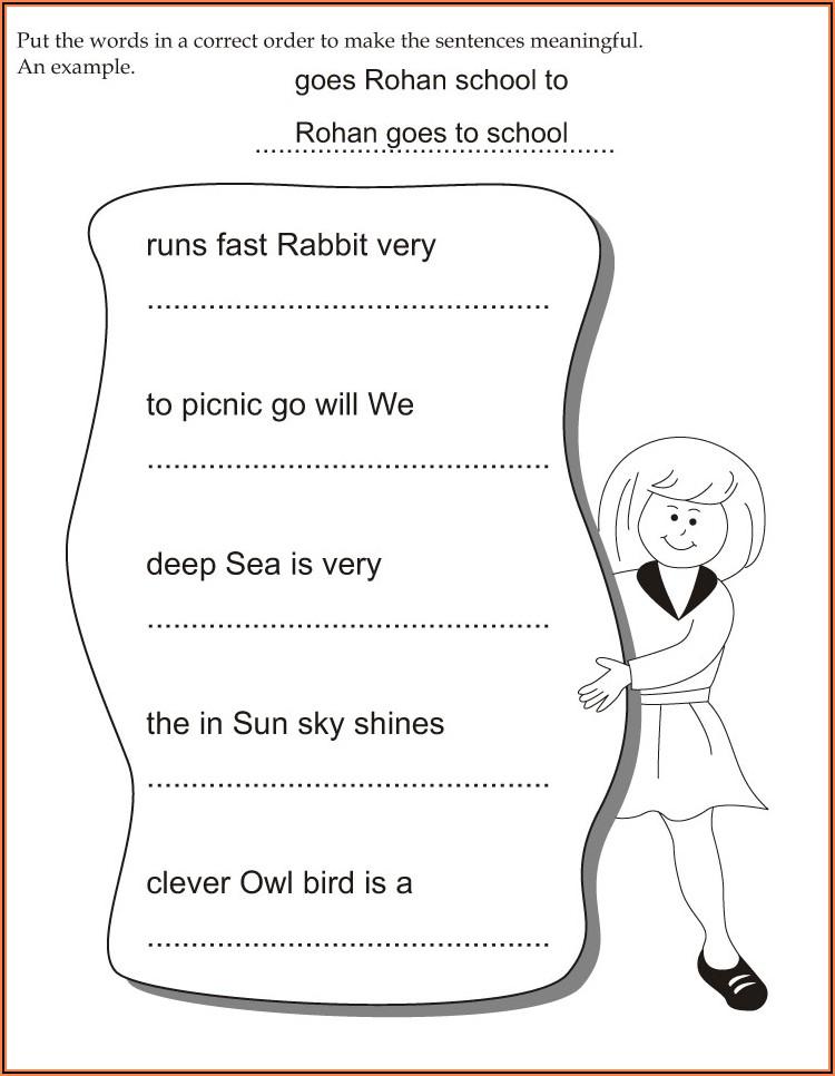Sentence Word Order Worksheets First Grade