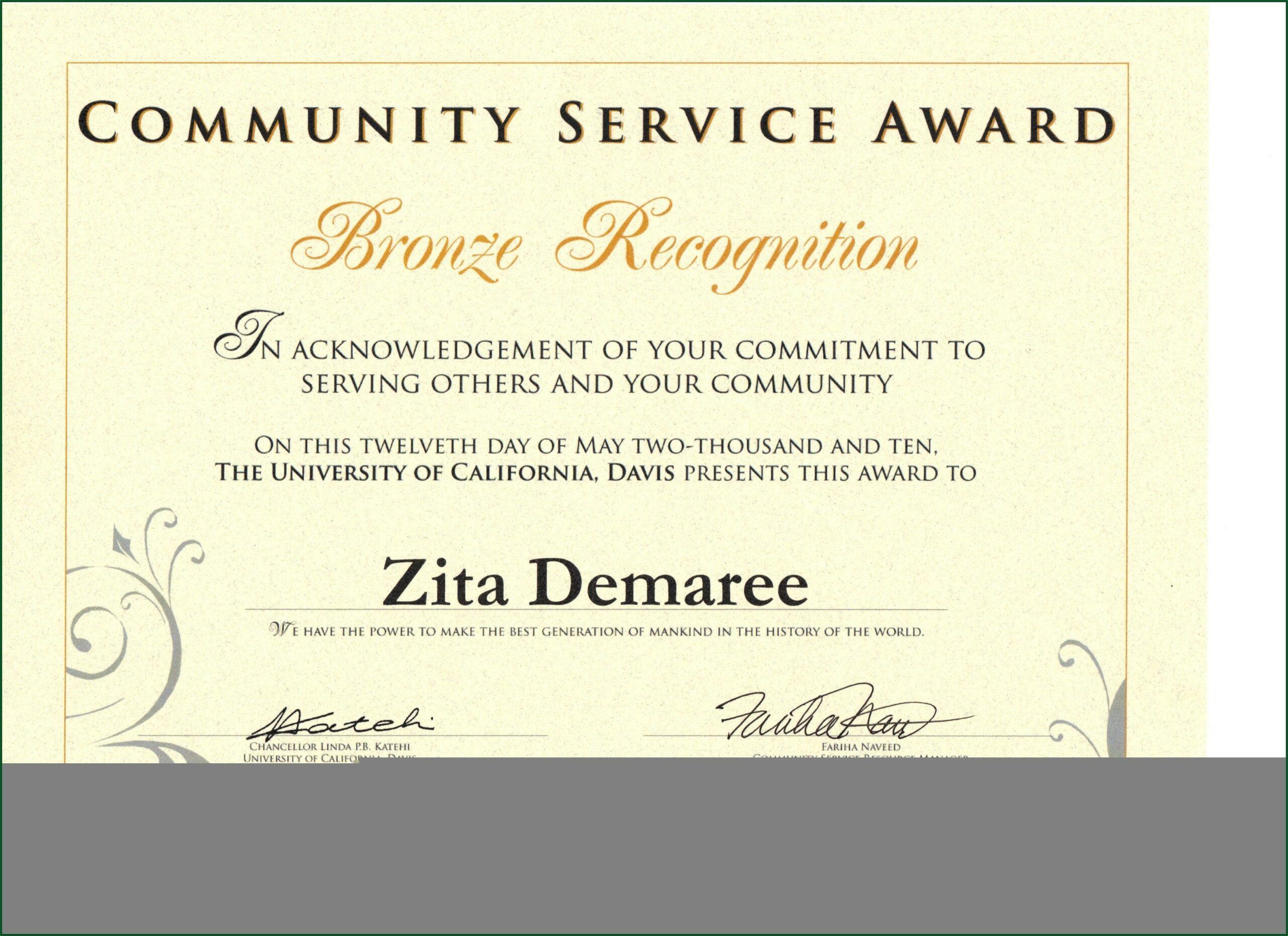 Service Award Certificate Sample