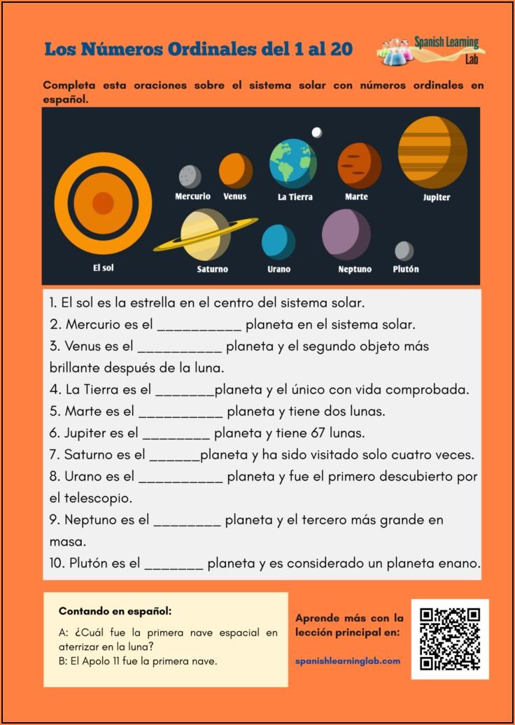 Spanish Ordinal Numbers Worksheet Pdf