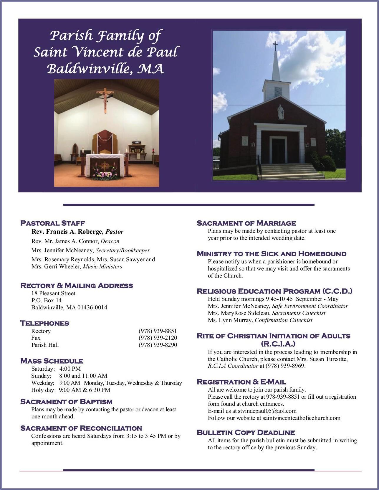 St Vincent De Paul Bulletin Announcements 2020