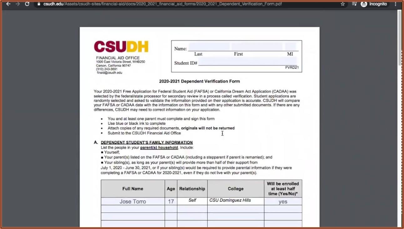 Standard Verification Worksheet Fafsa