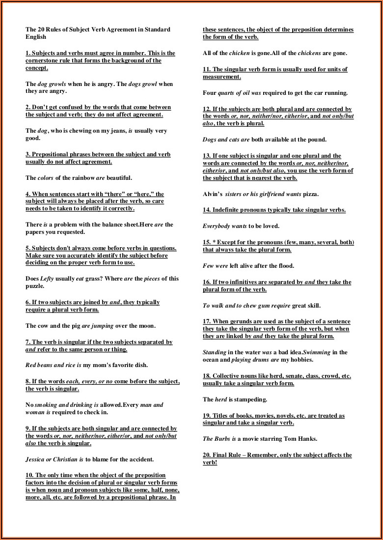 Subject Verb Agreement With Prepositional Phrases Worksheet Pdf