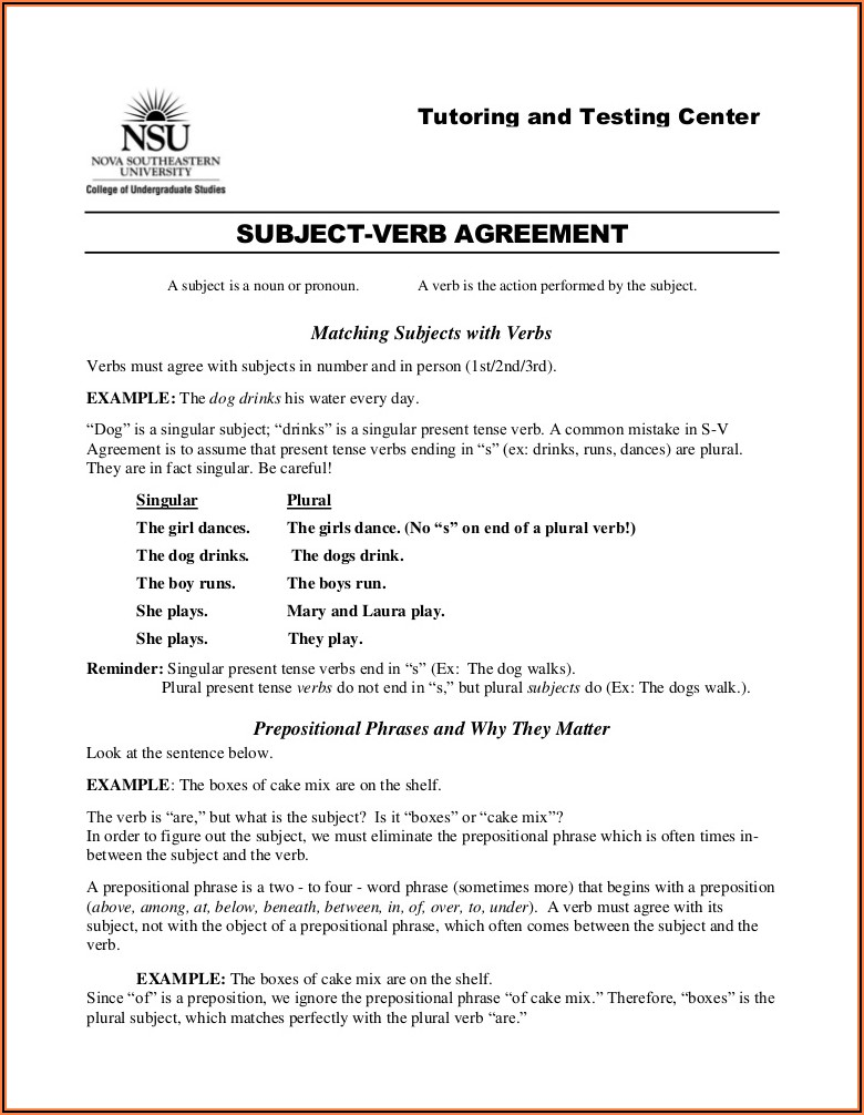 Subject Verb Agreement With Prepositional Phrases Worksheet