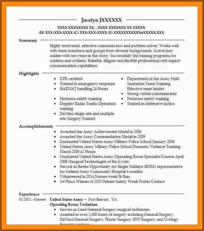 Surgical Technologist Job Description Resume Sample