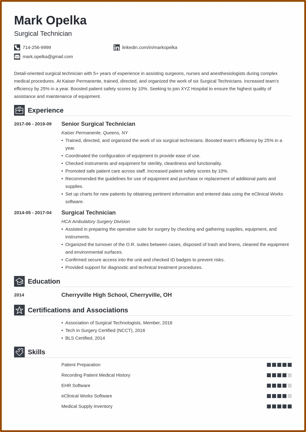 Surgical Technologist Resume Examples