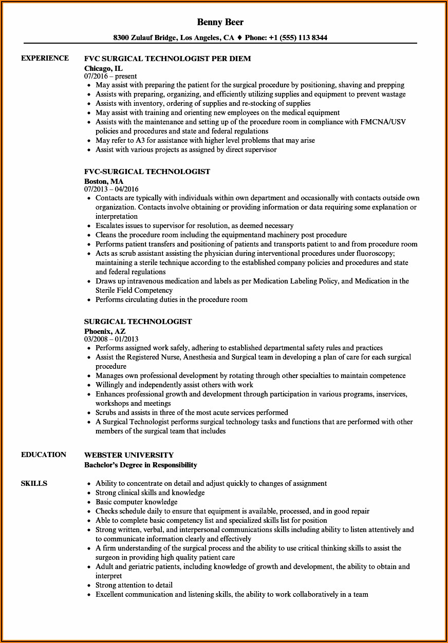 Surgical Technologist Resume Samples