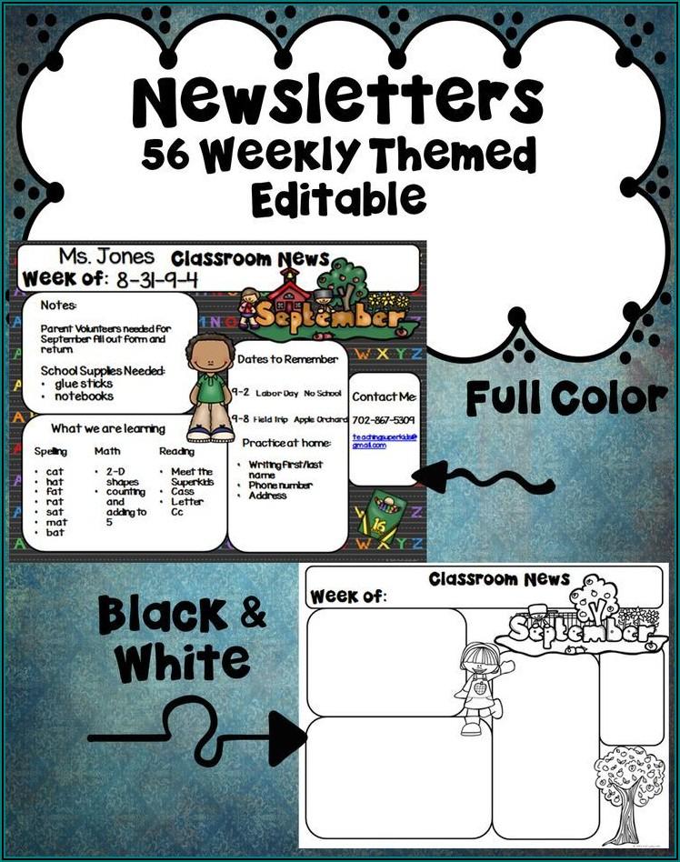 Teacher Editable Newsletter Templates