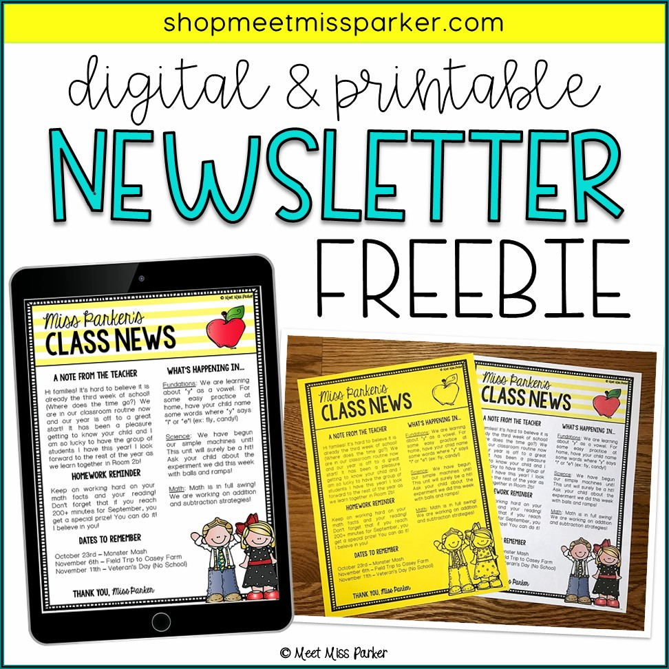 Teacher Newsletter Template Free