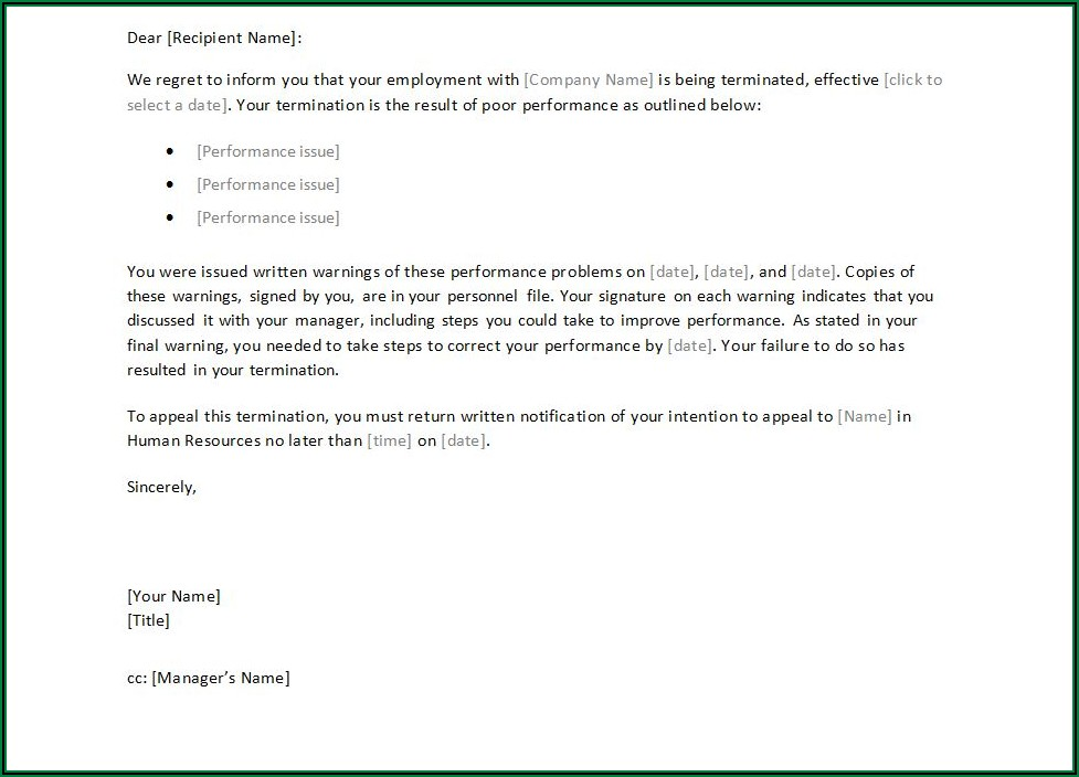 Template Termination Letter Employee