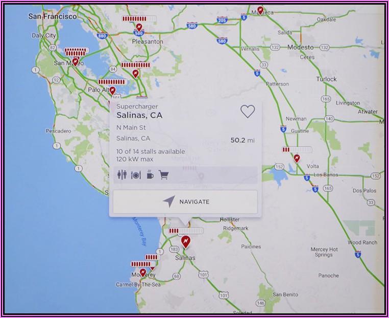 Tesla Supercharger Map California