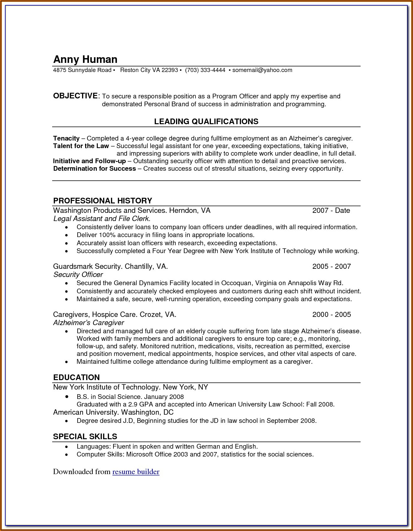 Totally Free Resume Builder And Download