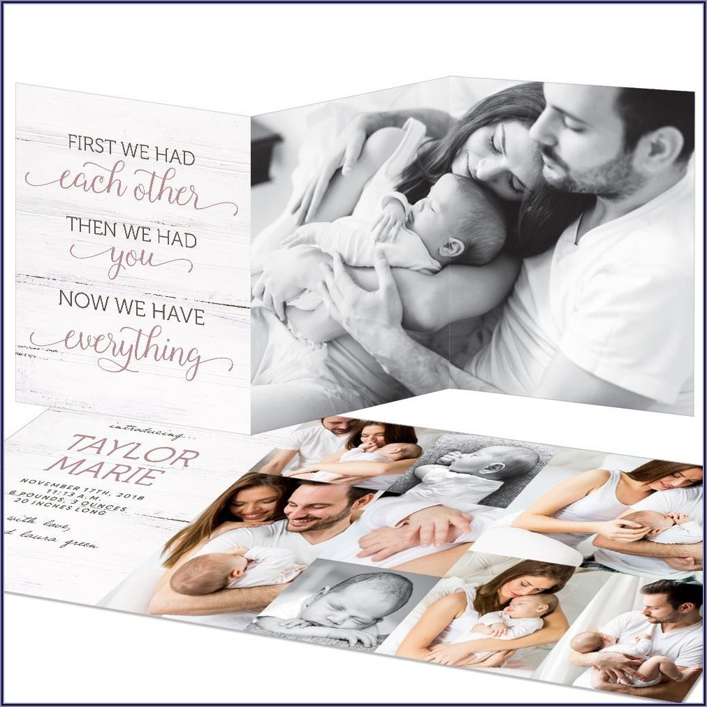 Trifold Birth Announcement Cards