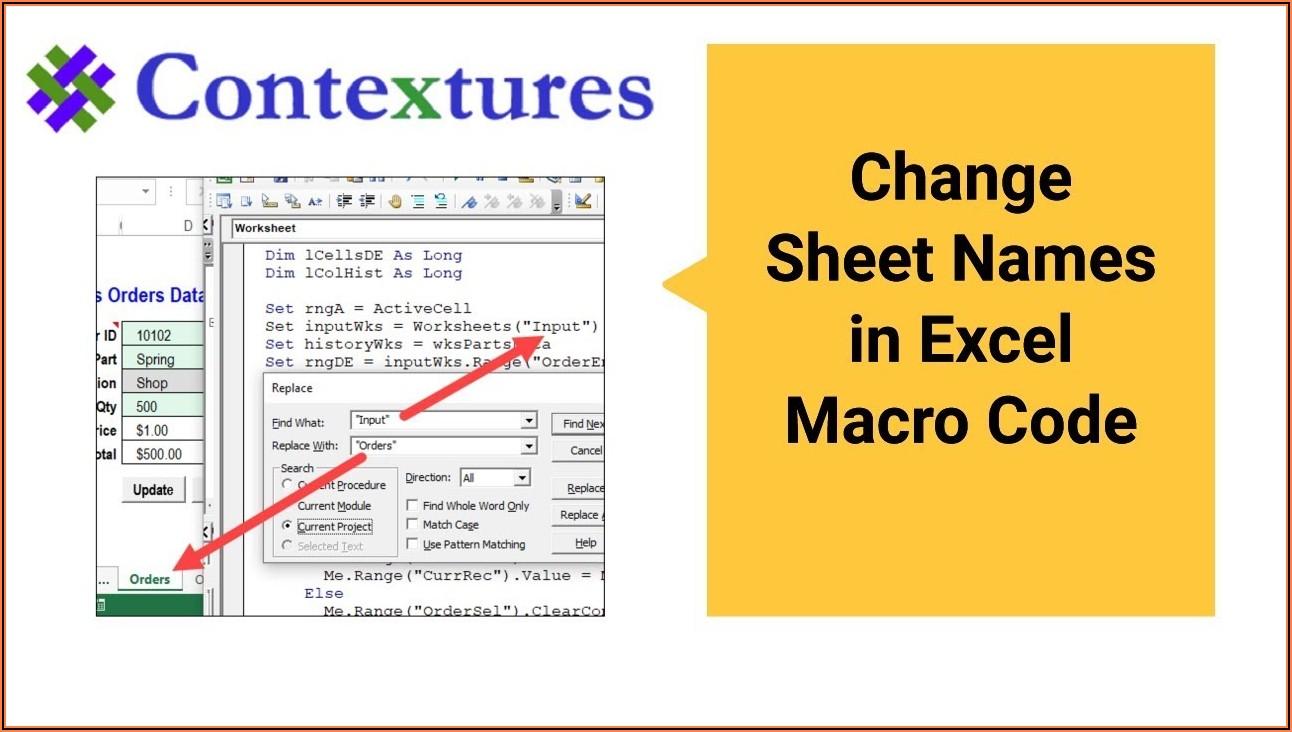Vba Macro Active Sheet Name