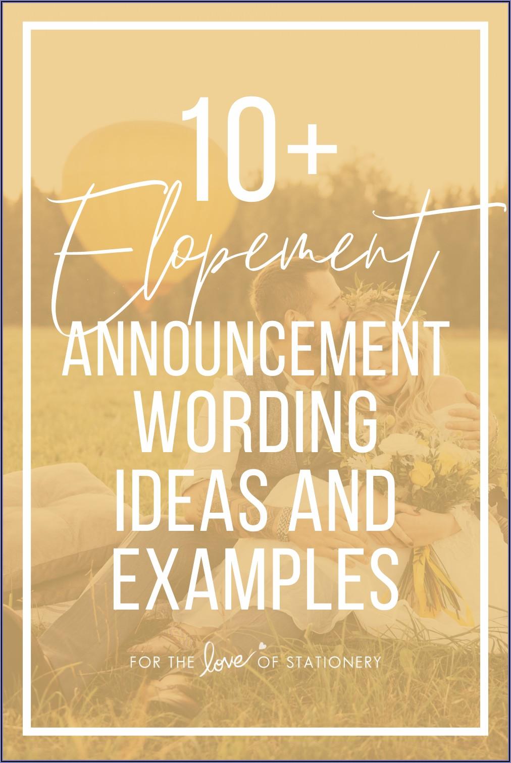Wedding Announcement Wording Examples