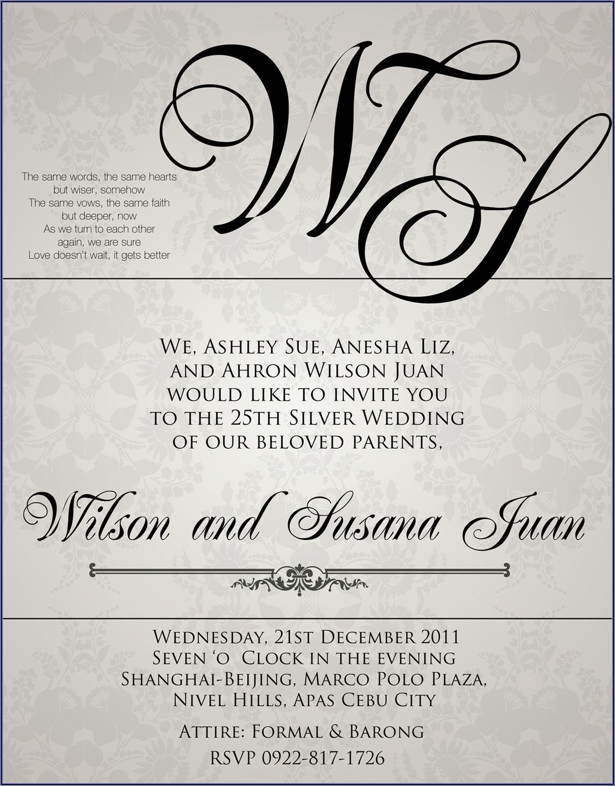 Wedding Invite Wording Samples