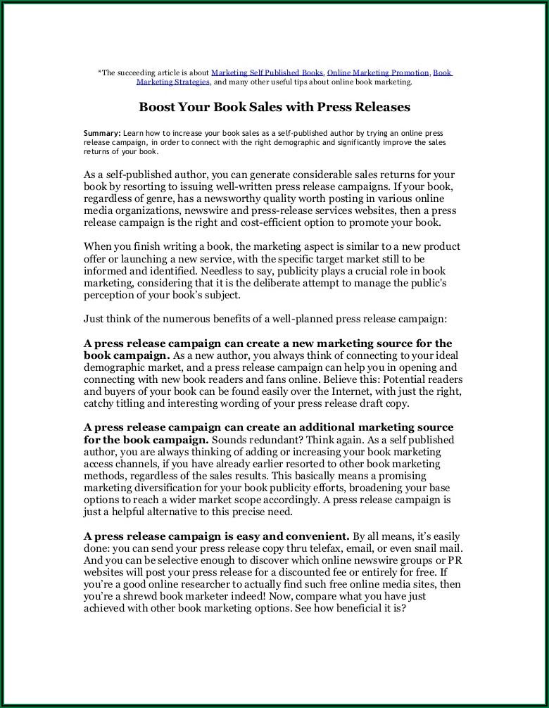 Well Written Press Release Example