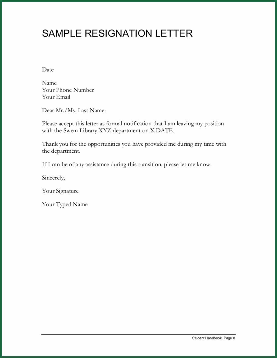 Well Written Resignation Letter Samples