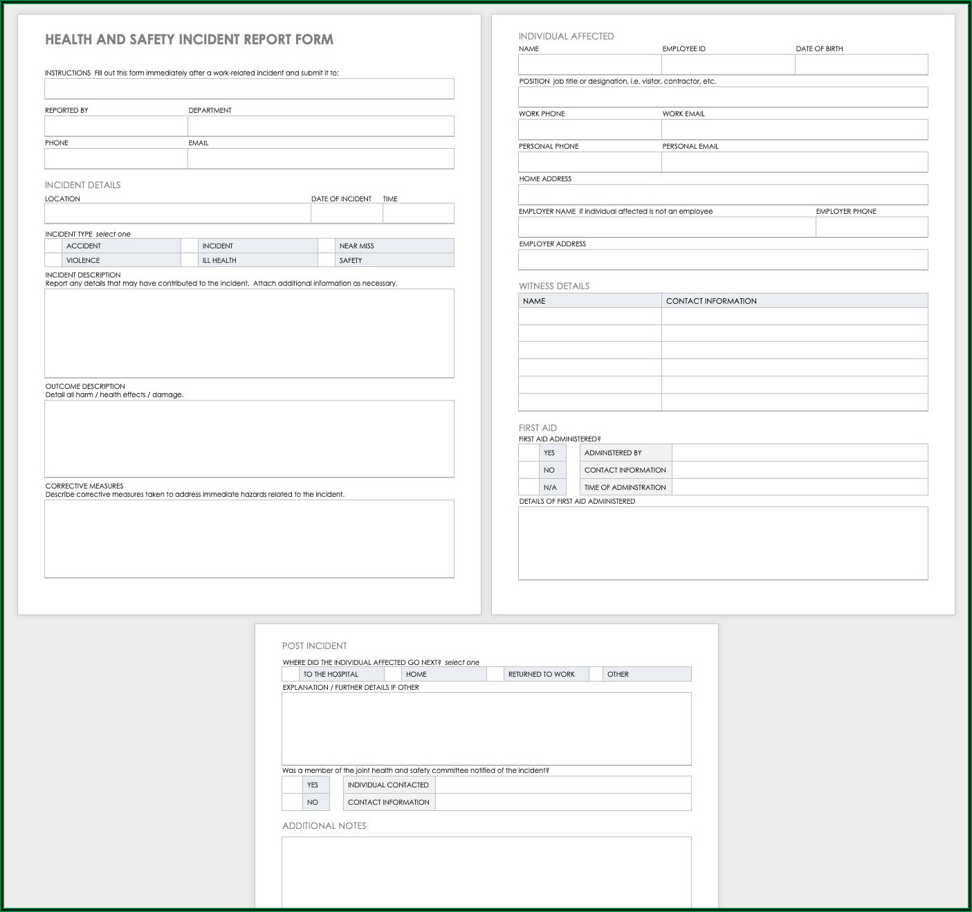 Workplace Accident Report Template