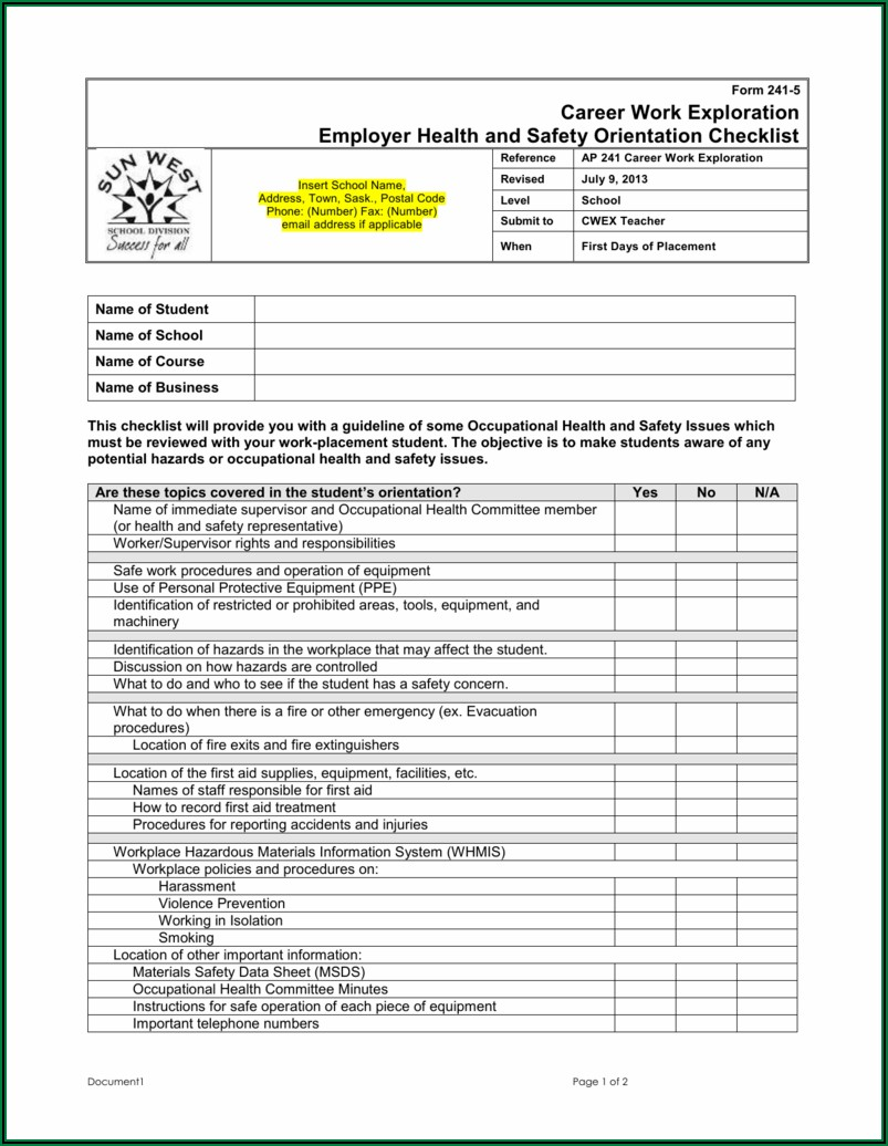 Workplace Health And Safety Audit Template