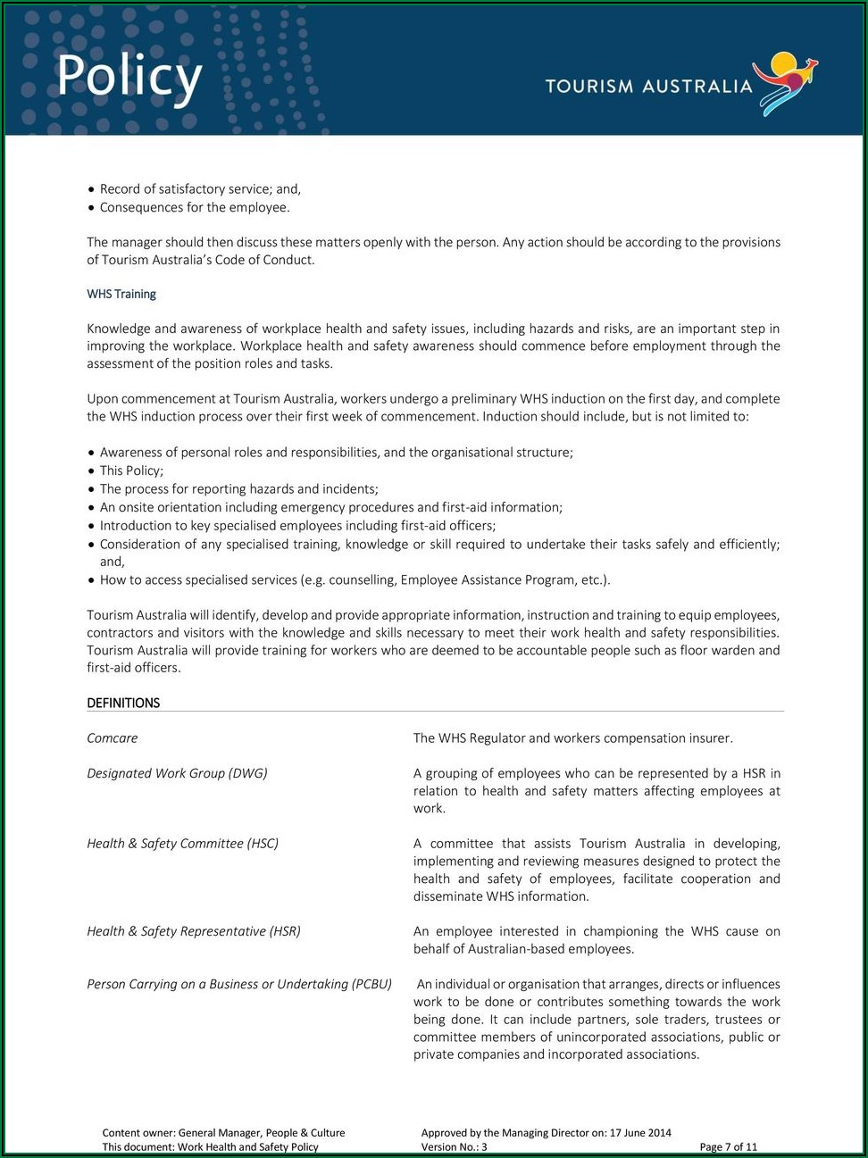 Workplace Health And Safety Policy Template Australia