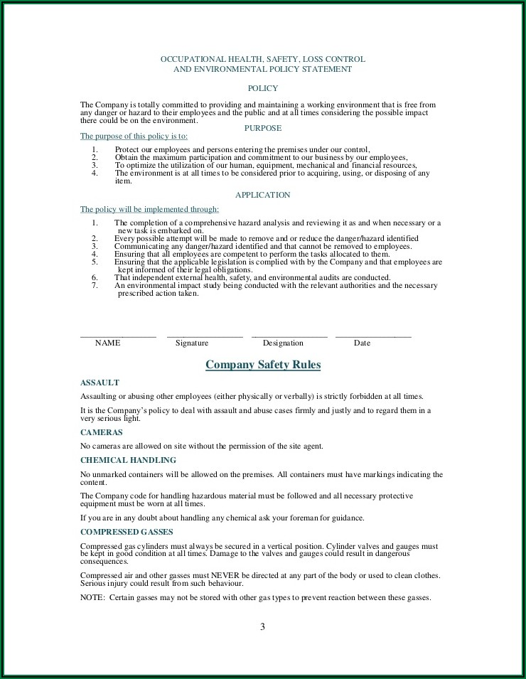 Workplace Health And Safety Policy Template South Africa