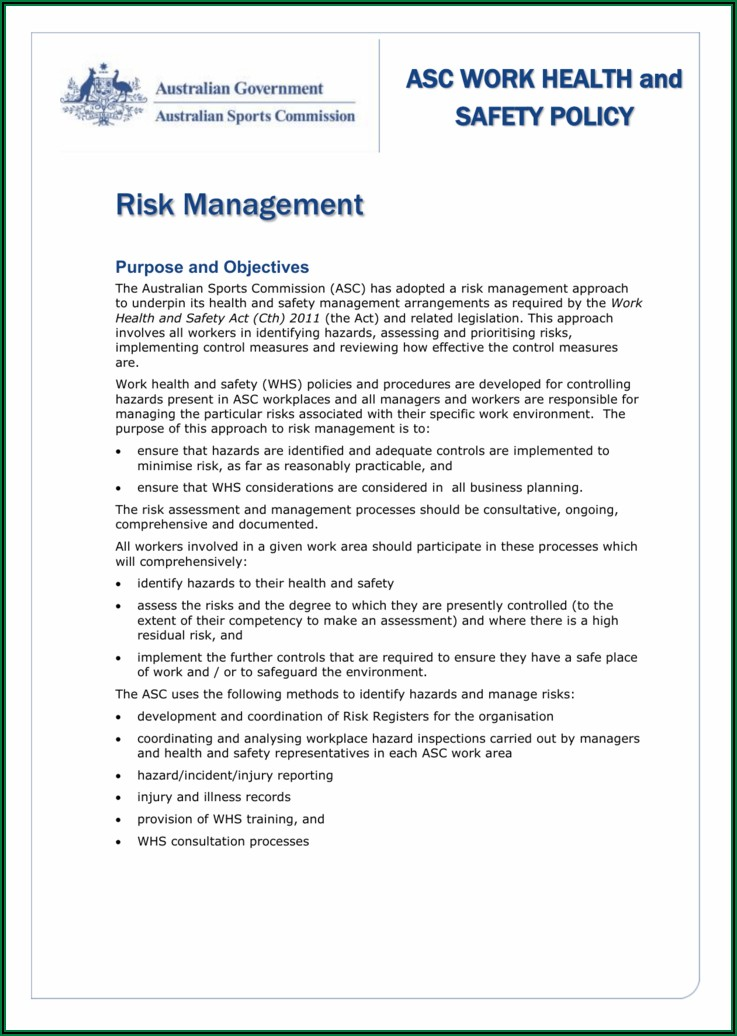 Workplace Health And Safety Policy Template Wa