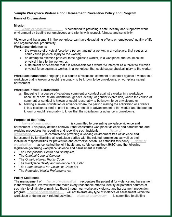Workplace Health And Safety Policy Template