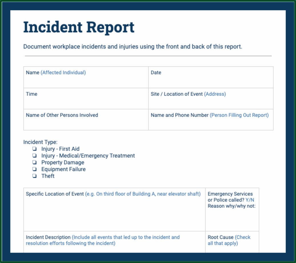 Workplace Incident Report Form Example Filled Out