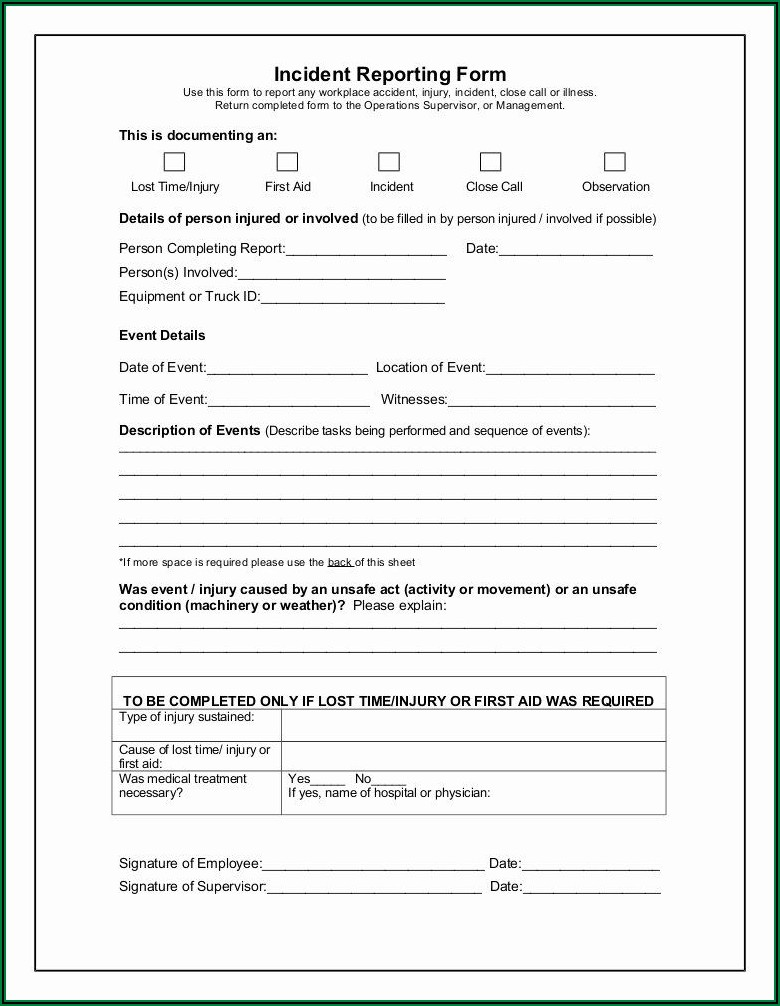 Workplace Incident Report Form Example