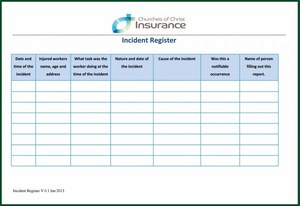 Workplace Incident Report Form Template Qld