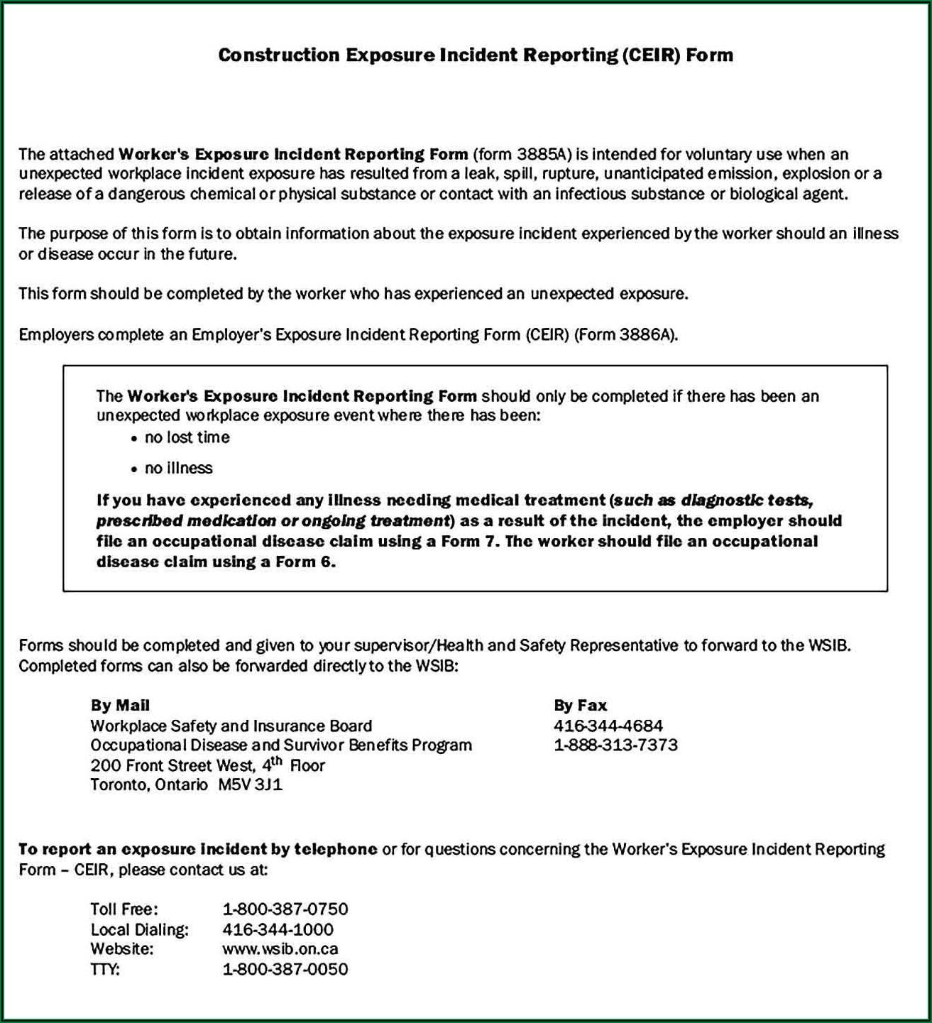 Workplace Injury Report Form Ontario