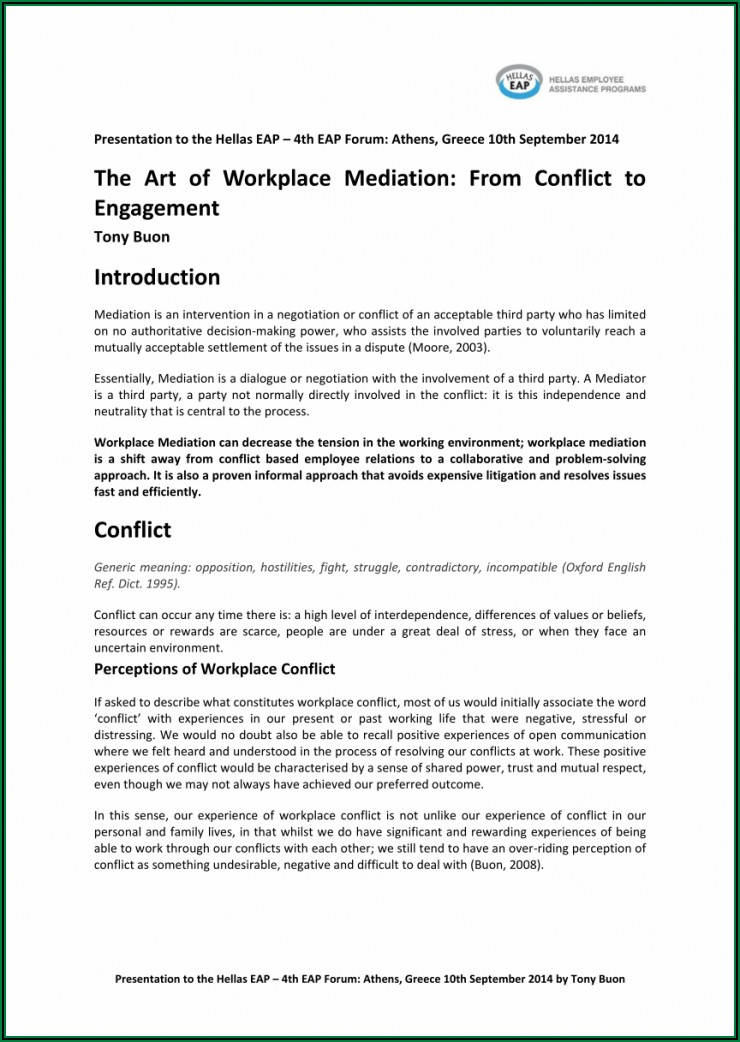 Workplace Mediation Outcome Agreement Template