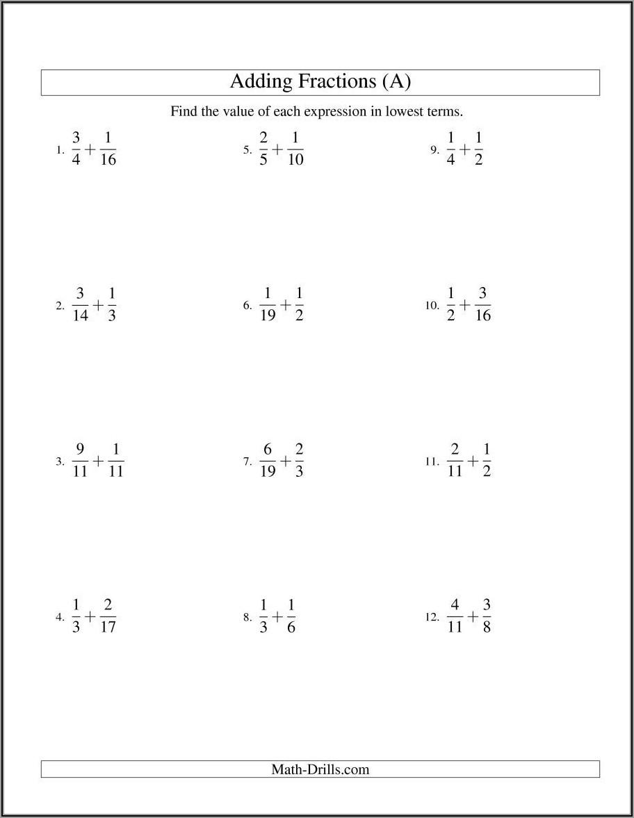 Worksheet Add Fractions Unlike Denominators