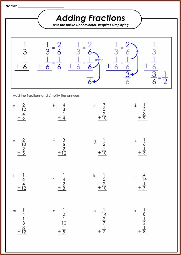 Worksheet Adding Fractions Different Denominators