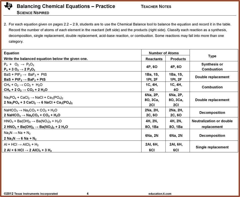 Worksheet Balancing Word Equations Chapter 10 Answer Key