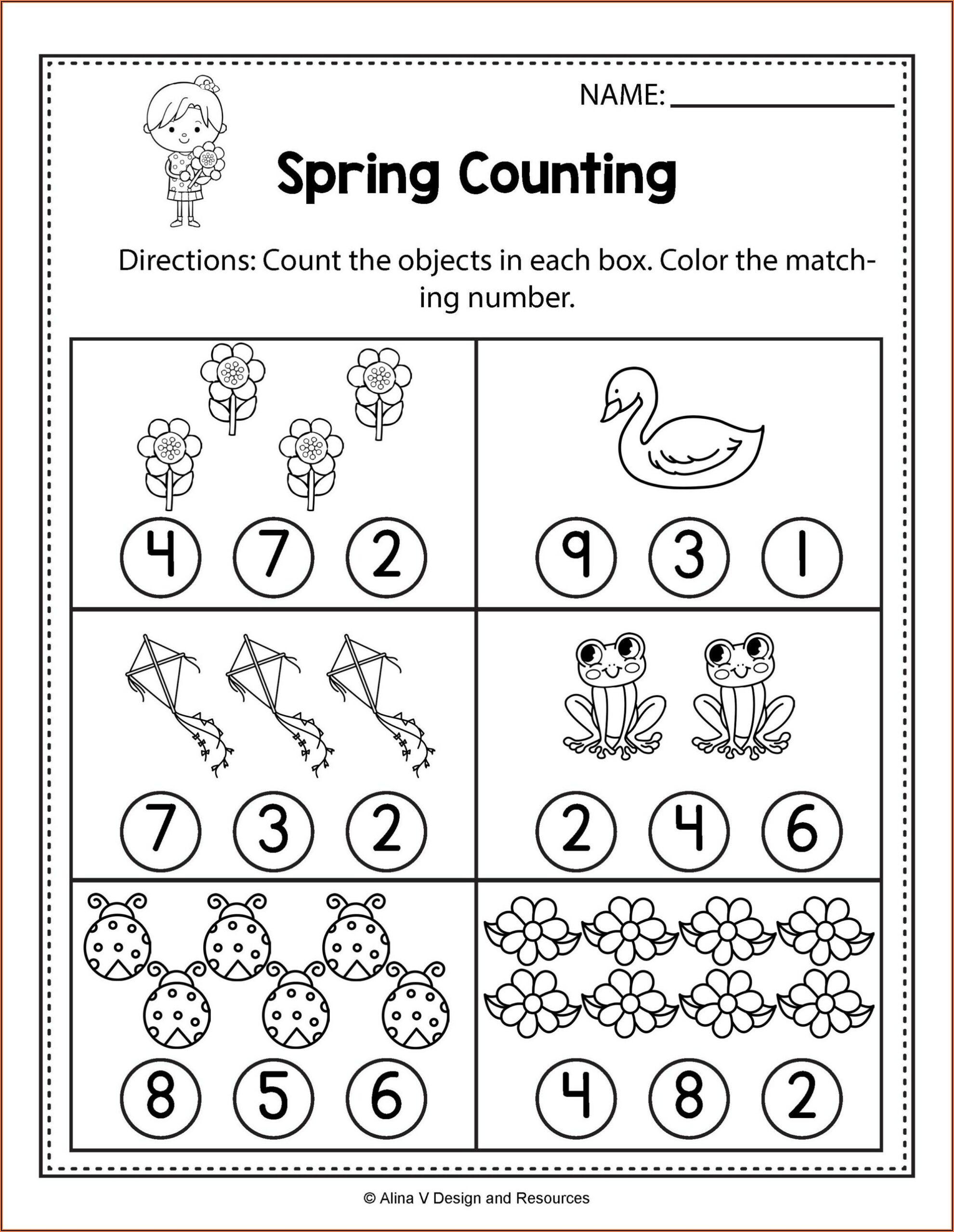 Worksheet For Kindergarten Math Pdf