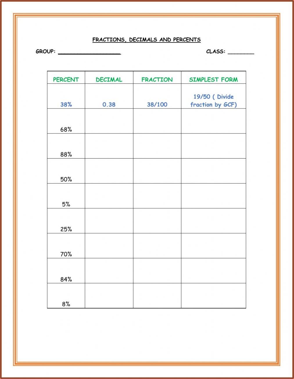 Worksheet Fraction Decimal Percent