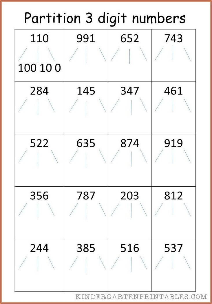 Worksheet Partitioning 3 Digit Numbers