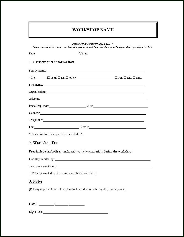 Workshop Registration Form Template Doc